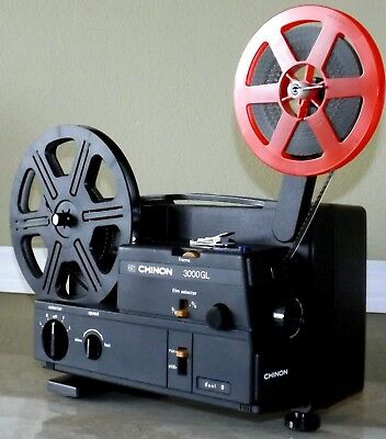 CHINON Model 3000GL Dual 8mm Silent Film / Movie Projector. TESTED