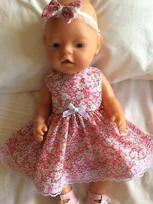 """Doll Clothes to fit 17"""" Baby Born doll ~ Dress & hband  ~ Pink / White Flowers"""