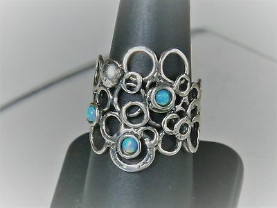 Israel B Designer Sterling Silver Hammered Faux Opal Circles Bubble Ring Sz 8.5