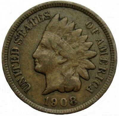 1908 - Us  Indian Head Cent 1¢ Collectible