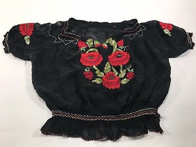 Folk Art Embroidered Top Roses Torn Holes Vintage Upcycle Repurpose