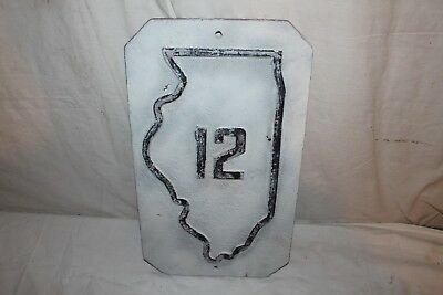 "Rare Vintage c.1910 Illinois Highway 12 Gas Oil 18"" Embossed Cast Iron Road Sign"