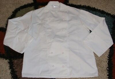 Unisex Chef Coat French Knot Buttons Double Breasted Thermometer Pocket Sz S & M