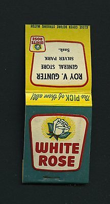 Vintage White Rose Gas Station Match Book Silver Park Sask Service Station