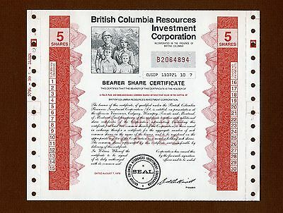Authentic BC Resources Investment Corporation, or BCRIC Share Certificate