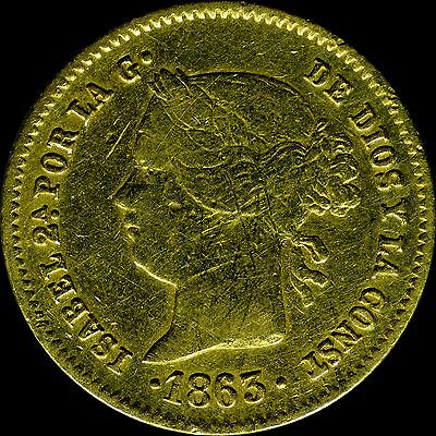 1863 Philippines 2 Pesos KM# 143 slight damage, Mintage of 176,000