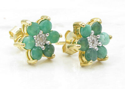925 Silver & 18K Gold VICTORIA TOWNSEND Emerald & Genuine Diamonds Earrings 2g
