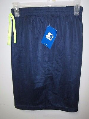 Starter Men's Active Mesh Dark Navy w/ Yellow Drawcord Shorts Size L (36/38)