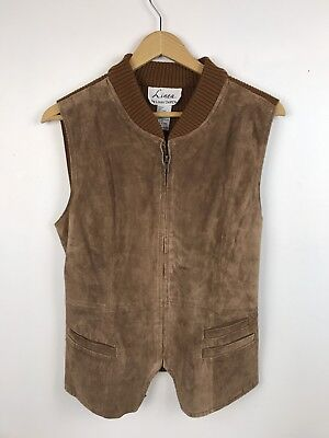 Vintage 90s Suede Vest Knit Sweater 80s Grunge Leather Brown Linea Mod Small