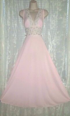 Vtg Pink Nylon Aristocraft Nightgown Negligee Gown with Lace and Bows m