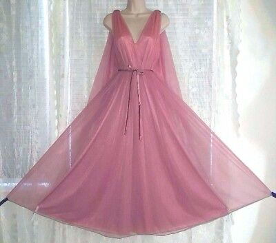 Vtg Rose Double Layer Sheer Chiffon over Nylon Nightgown Gown Negligee M L