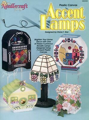 Accent Lamps ~ Jukebox Birdhouse Roses & More plastic canvas patterns OOP rare