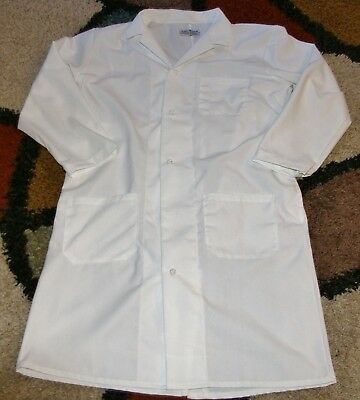 "Unisex Chef Jacket Coat French Knot Buttons 3 Pocket 42"" Length White Size M/L"