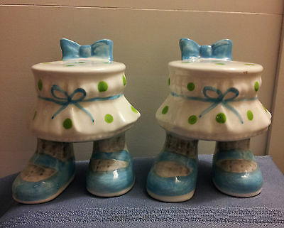 ENESCO Polka-Dot Skirts with Feet SALT & PEPPER SHAKER SET!!!