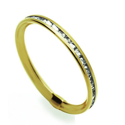 Women 14K Yellow Gold Channel Set Eternity Wedding Band