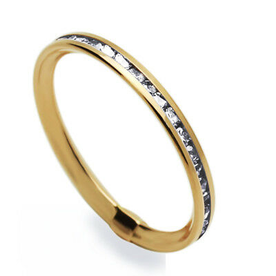 Women 14K Rose Gold Channel Set Eternity Wedding Band