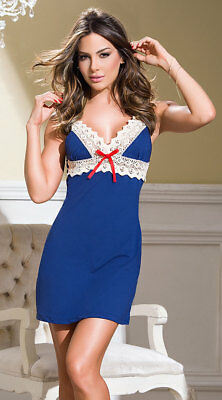 X-Large Womens Midnight Blue And Crochet Nightgown, Blue And White Nightie