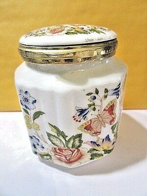 "Vintage Aynsley England Covered Jar Garden Pattern Octagon Shape 3 1/2"" Tall"