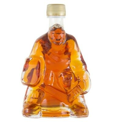 Canadian Maple Syrup Collector's Hockey Goalie Player Glass Gift Bottle