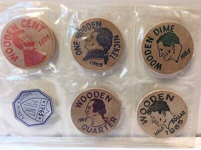 1965 DES PLAINES, ILL WOODEN NICKEL MINT SEALED SET OF 5 WHEATON, DuPAGE Money