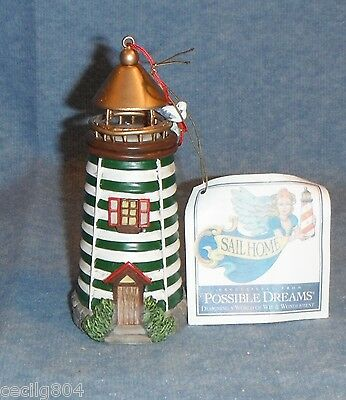Green Stripe Lighthouse  Hanging Christmas Ornament By Possible Dreams