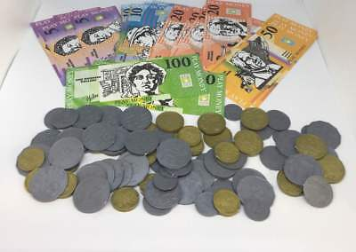Realistic Australian Play Money Coins and Notes in plastic storage box