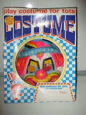 Vintage 1966 Ben Cooper Lil Clown Halloween  Costume   Mask &  Cloth Costume Jac