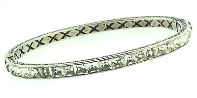 Vtg Art Deco Sterling Silver Channel Set Rhinestone Oval Bangle BRACELET 10.1g