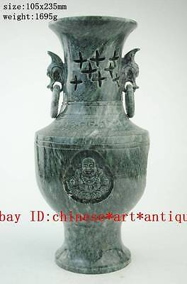 Rare China Old Jade Carving Buddha Fish Dragon Flower Vase Bottle Vases