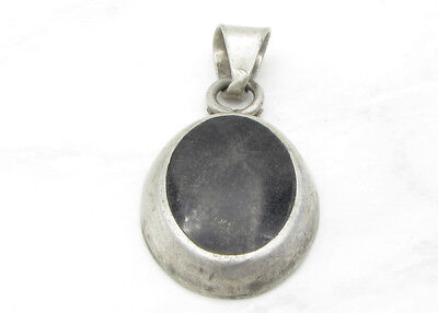 925 Sterling Silver - MEXICO Vintage Antique Finish Onyx Pendant 8g