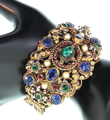 Vtg ART DECO Victorian Czech Brass Filigree Enamel Hinged Wide Cuff BRACELET