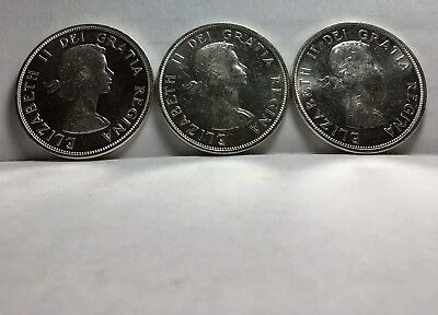 Lot Of 3 Brilliant Uncirculated 1963 Canadian Silver Dollars GEM BU UNC DMPL PL