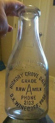 NC Milk Bottle Hickory Grove Dairy D K Winecoff Concord North Carolina Quart