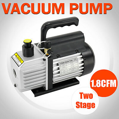 1.8CFM 1/4HP 2 Stages Vacuum Pump Air Condition Refrigeration Rotary Gauges Tool