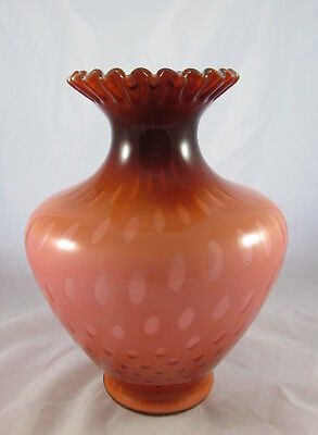 Vintage Brown & White Cased Glass Coinspot Ruffled Crimped Top Large Vase