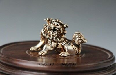 China collection manual Tibet silver to the lion statue carved out