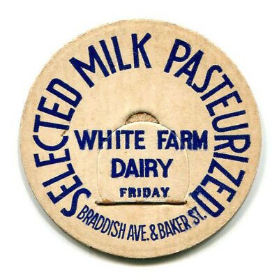Variation White Farm Dairy Baltimore MD Milk Bottle Cap Maryland M D