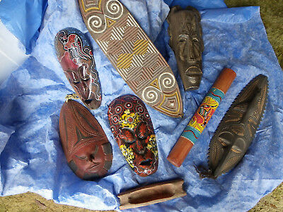 Pacific island and or Australasian masks and other items