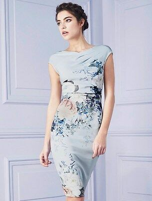 Womens Printed Cocktail Party Dress Knee Length Midi Blue Floral Print 8 10 12