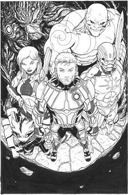 Ed McGuinness Guardians of the Galaxy original comic Variant cover art Groot