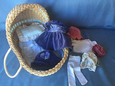 Pleasant Company 1997 AG Bitty Baby Wicker Bassinet +Tagged Clothing,Pad, Pillow