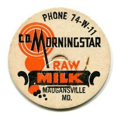 Morningstar Dairy Maugansville MD Milk Bottle Cap Washington Co Maryland M D