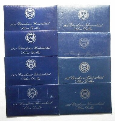Lot Of 8 Eisenhower 40% Silver Dollars(Blue Ikes) - (4) 1971 S & (4) 1973 S