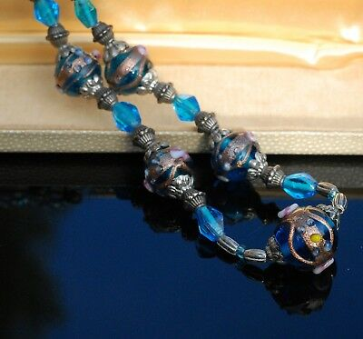 Vintage Wedding Cake Glass Bead Necklace in Vivid Blue Excellent Condition