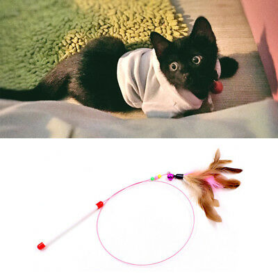 Stick Game Wand with Colored Feather Ball Bell Fun Toy for Cat Kitten Anim