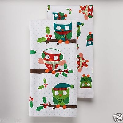 2 St. Nicholas Square Kitchen Dish Towels Christmas Owls Holiday Owl Cheer NWT