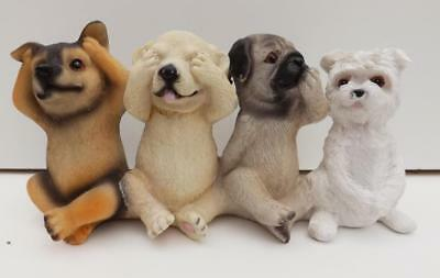 4 Little  Puppies Statue Sclupture Figurine Ornament Poly-Resin New