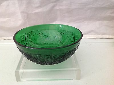 Anchor Hocking Sandwich Glass Forest Green 4 Small Fruit/Dessert Bowls