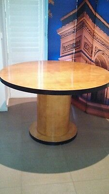 Art deco dining room or occasional table birds eye maple with glass top.