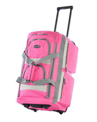 Olympia 22 Luggage Rolling Duffel Bag Pink Travel Carry on Wheels ABS Suitcase